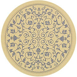 Safavieh Resorts Scrollwork Natural/ Blue Indoor/ Outdoor Rug (5'3 Round)
