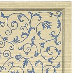Safavieh Resorts Scrollwork Natural/ Blue Indoor/ Outdoor Rug (9' x 12') - Thumbnail 1