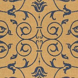 Safavieh Resorts Scrollwork Natural/ Blue Indoor/ Outdoor Rug (9' x 12') - Thumbnail 2