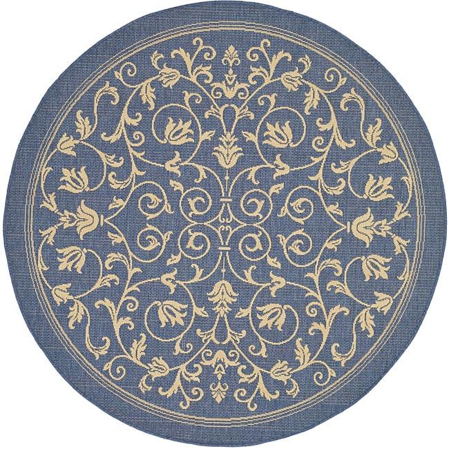 Safavieh Resorts Scrollwork Blue/ Natural Indoor/ Outdoor Rug (6'7 Round) - 6'7 Round