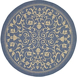 Safavieh Resorts Scrollwork Blue/ Natural Indoor/ Outdoor Rug (6'7 Round)
