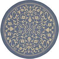 Safavieh Resorts Scrollwork Blue/ Natural Indoor/ Outdoor Rug - 6'7