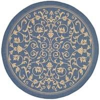"""Safavieh Resorts Scrollwork Blue/ Natural Indoor/ Outdoor Rug - 6'-7"""" x 6'-7"""" round"""