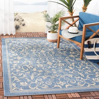 Safavieh Resorts Scrollwork Blue/ Natural Indoor/ Outdoor Rug (5'3 x 7'7)