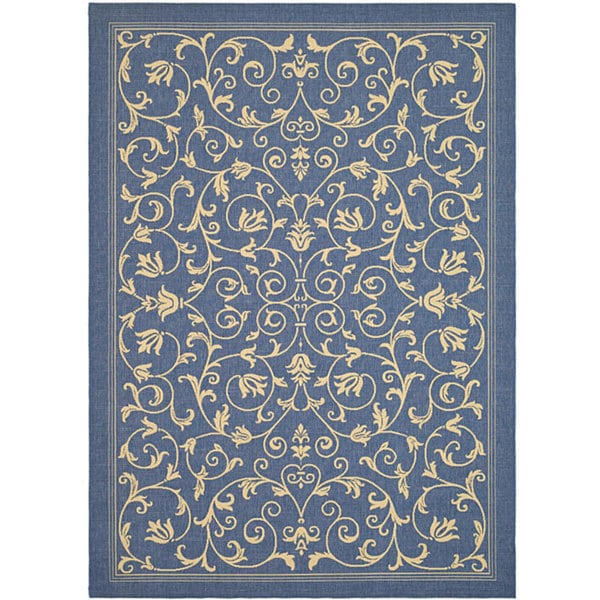 Safavieh Resorts Scrollwork Blue/ Natural Indoor/ Outdoor Rug (5'3 x 7'7)