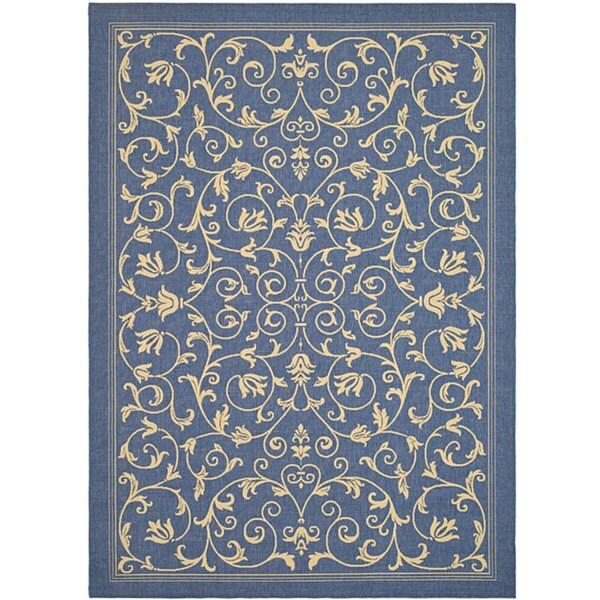 Safavieh Resorts Scrollwork Blue/ Natural Indoor/ Outdoor Rug - 9' x 12'