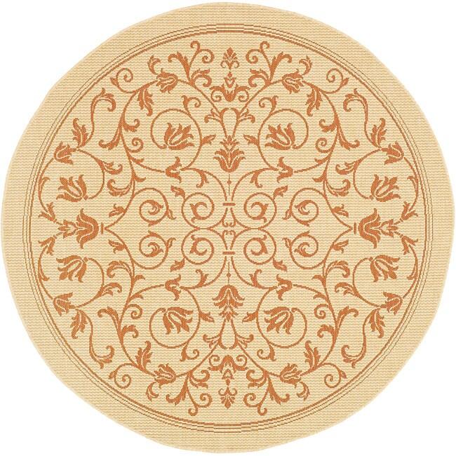 Safavieh Resorts Scrollwork Natural/ Terracotta Indoor/ Outdoor Rug (5'3 Round)