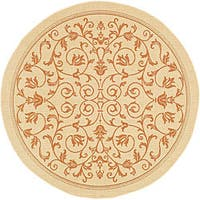 "Safavieh Resorts Scrollwork Natural/ Terracotta Indoor/ Outdoor Rug - 5'3"" x 5'3"" round"