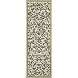 Safavieh Resorts Scrollwork Natural/ Blue Indoor/ Outdoor Runner (2'4 x 6'7)