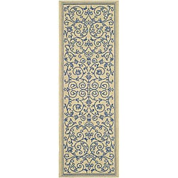 "Safavieh Resorts Scrollwork Natural/ Blue Indoor/ Outdoor Runner - 2'4"" x 6'7"""