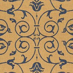 Safavieh Indoor/ Outdoor Resorts Natural/ Blue Rug (4' x 5'7)