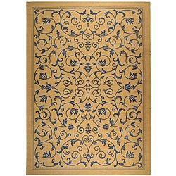 Safavieh Resorts Scrollwork Natural/ Blue Indoor/ Outdoor Rug (6'7 x 9'6)