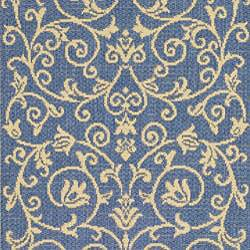Safavieh Resorts Scrollwork Blue/ Natural Indoor/ Outdoor Runner (2'4 x 6'7) - Thumbnail 2