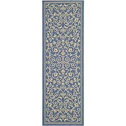 Safavieh Indoor/ Outdoor Resorts Blue/ Natural Runner (2'4 x 6'7)