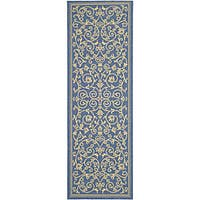 "Safavieh Resorts Scrollwork Blue/ Natural Indoor/ Outdoor Runner - 2'4"" x 6'7"""