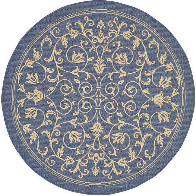 Safavieh Resorts Scrollwork Blue/ Natural Indoor/ Outdoor Rug (5'3 Round)