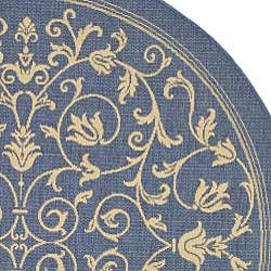 Safavieh Resorts Scrollwork Blue/ Natural Indoor/ Outdoor Rug (5'3 Round) - Thumbnail 1