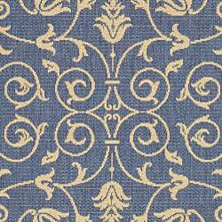Safavieh Resorts Scrollwork Blue/ Natural Indoor/ Outdoor Rug (5'3 Round) - Thumbnail 2