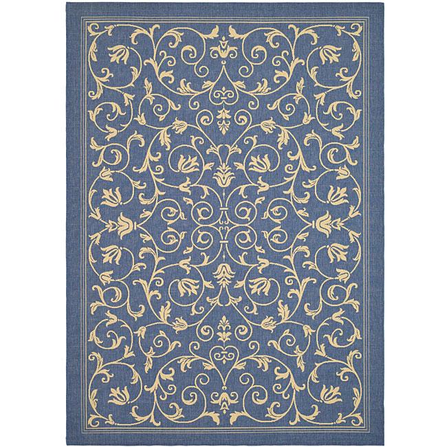 Safavieh Resorts Scrollwork Blue/ Natural Indoor/ Outdoor Rug (2'7 x 5')