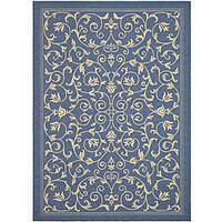 Safavieh Resorts Scrollwork Blue/ Natural Indoor/ Outdoor Rug - 2'7 x 5'