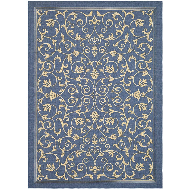 Safavieh Resorts Scrollwork Blue/ Natural Indoor/ Outdoor Rug (4 ...