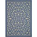 Safavieh Resorts Scrollwork Blue/ Natural Indoor/ Outdoor Rug (4' x 5'7)