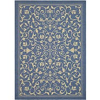 Safavieh Resorts Scrollwork Blue/ Natural Indoor/ Outdoor Rug - 6'7 x 9'6