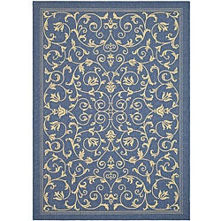 Safavieh Resorts Scrollwork Blue/ Natural Indoor/ Outdoor Rug (6'7 x 9'6)