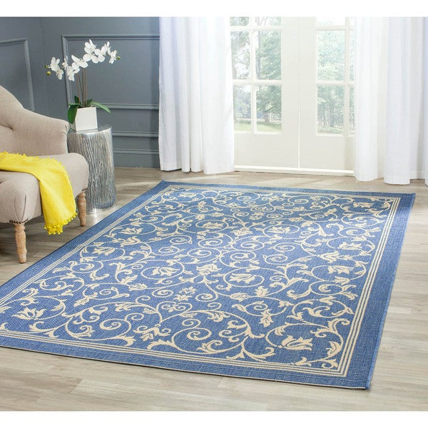Safavieh Resorts Scrollwork Blue/ Natural Indoor/ Outdoor Rug - 7'10 x 11'