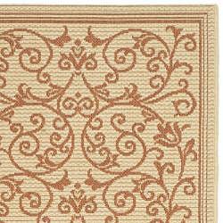 Safavieh Resorts Scrollwork Natural/ Terracotta Indoor/ Outdoor Runner (2'4 x 6'7) - Thumbnail 1