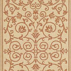 Safavieh Resorts Scrollwork Natural/ Terracotta Indoor/ Outdoor Runner (2'4 x 6'7) - Thumbnail 2
