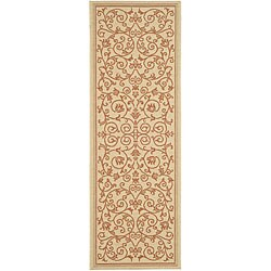 Safavieh Resorts Scrollwork Natural/ Terracotta Indoor/ Outdoor Runner (2'4 x 6'7)