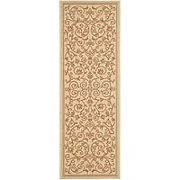 Safavieh Resorts Scrollwork Natural/ Terracotta Indoor/ Outdoor Runner - 2'4 x 6'7