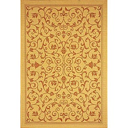 Safavieh Resorts Scrollwork Natural/ Terracotta Indoor/ Outdoor Poolside Rug (2'7 x 5')