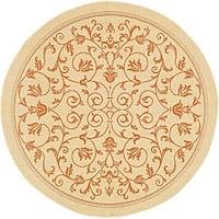 Safavieh Resorts Scrollwork Natural/ Terracotta Indoor/ Outdoor Poolside Rug (6'7 Round) - 6'7 Round