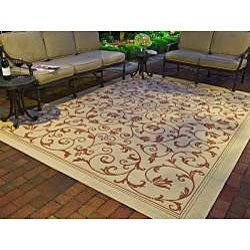 Safavieh Resorts Scrollwork Natural/ Terracotta Indoor/ Outdoor Poolside Rug (4' x 5'7) - Thumbnail 1