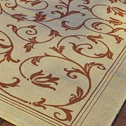 Safavieh Resorts Scrollwork Natural/ Terracotta Indoor/ Outdoor Poolside Rug (4' x 5'7) - Thumbnail 2
