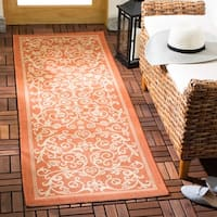 Safavieh Resorts Scrollwork Terracotta/ Natural Indoor/ Outdoor Runner - 2'4 x 6'7