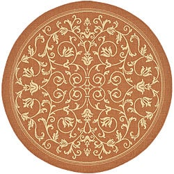 Safavieh Indoor/ Outdoor Resorts Terracotta/ Natural Rug (5'3 Round)
