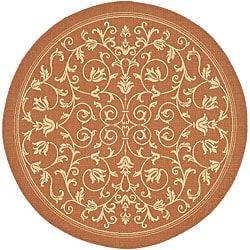 Safavieh Resorts Scrollwork Terracotta/ Natural Indoor/ Outdoor Rug (5'3 Round)