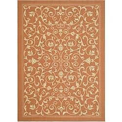 Safavieh Resorts Scrollwork Terracotta/ Natural Indoor/ Outdoor Rug (2'7 x 5')
