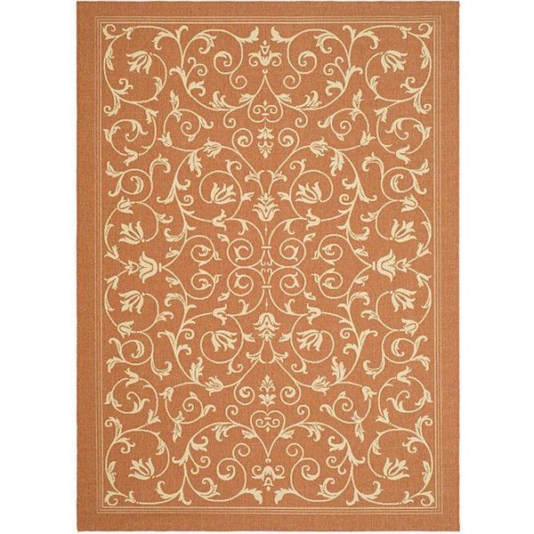 Safavieh Resorts Scrollwork Terracotta/ Natural Indoor/ Outdoor Rug - 2'7 x 5'