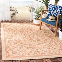 Safavieh Resorts Scrollwork Natural/ Terracotta Indoor/ Outdoor Poolside Rug - 5'3 x 7'7