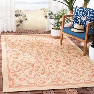 Safavieh Resorts Scrollwork Natural/ Terracotta Indoor/ Outdoor Rug (8' 11 x 12' )