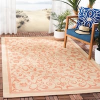 "Safavieh Resorts Scrollwork Natural/ Terracotta Indoor/ Outdoor Rug - 8'11"" x 12'"