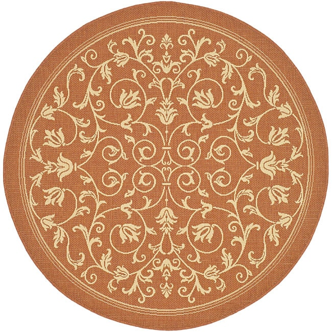 Safavieh Resorts Scrollwork Terracotta/ Natural Indoor/ Outdoor Rug (6'7 Round)