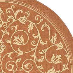 Safavieh Resorts Scrollwork Terracotta/ Natural Indoor/ Outdoor Rug (6'7 Round) - Thumbnail 1