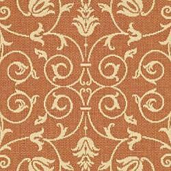 Safavieh Resorts Scrollwork Terracotta/ Natural Indoor/ Outdoor Rug (6'7 Round) - Thumbnail 2