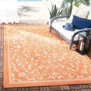Safavieh Resorts Scrollwork Terracotta/ Natural Indoor/ Outdoor Rug (5'3 x 7'7)