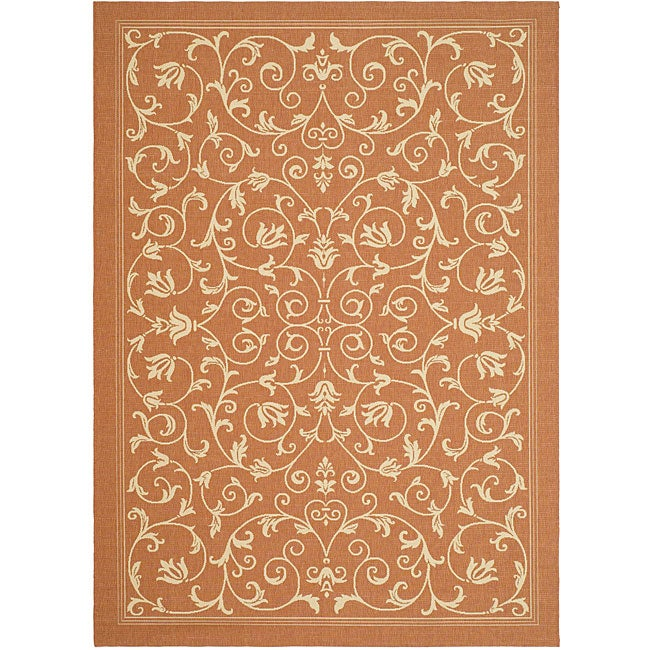 Safavieh Resorts Scrollwork Terracotta/ Natural Indoor